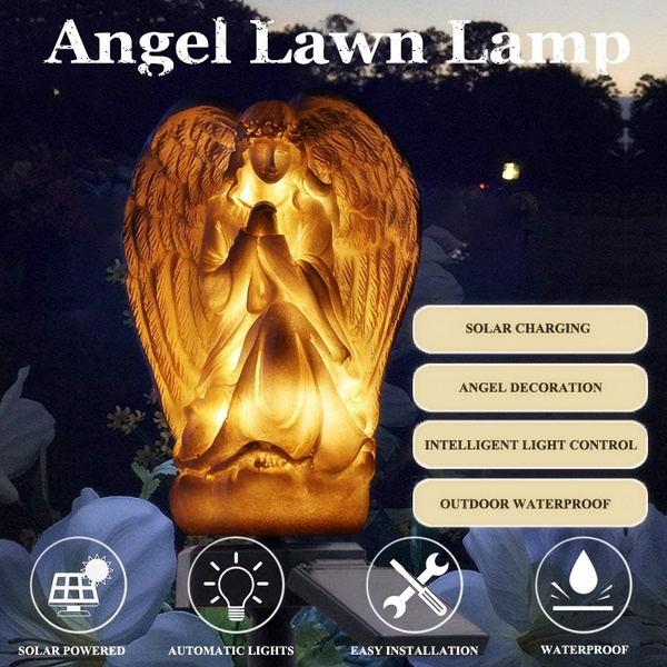 Angel Lawn Lamp Angel Design Waterproof Night Solar Lights Outdoor Garden Solar Lamp Lantern Lawn Light For Patio Backyard Paths Wish