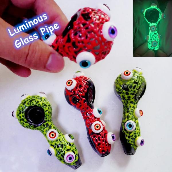 4 Luminous Eyeball Glowing In The Dark, Glow In The Dark Glass Hand Pipes