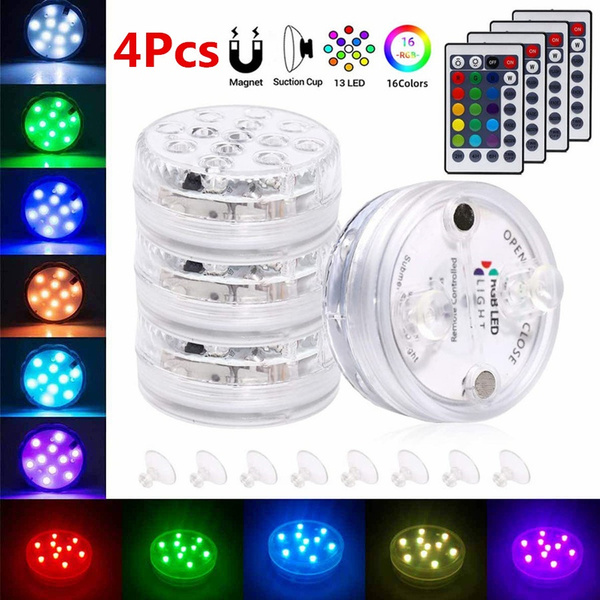 4 Pcs 13 LED Pool Light Magnet Submersible LED Lights with Suction Cups  Remote Control IP68 Waterproof Color-Changing Battery LED Lights for  Bathtub Shower Hot Tub Spa Party   Wish