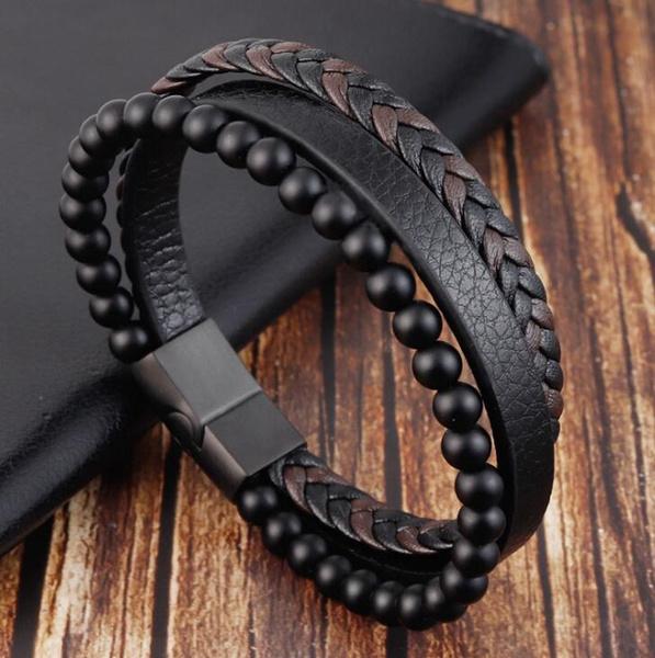 Charm Bracelet, Steel, bikerbracelet, Beaded