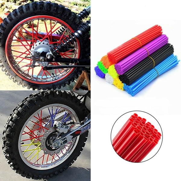 36 Pcs Motorcycle Dirt Bike Wheel Rim Cover Spoke Skins Wrap Tubes Decor Protect