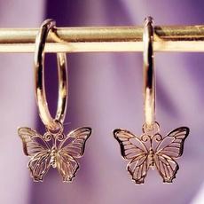 butterfly, cute, Hoop Earring, butterfly earrings