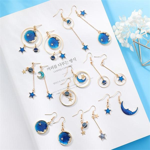 moonearring, earrings for sensitive ears, Hoop Earring, Star
