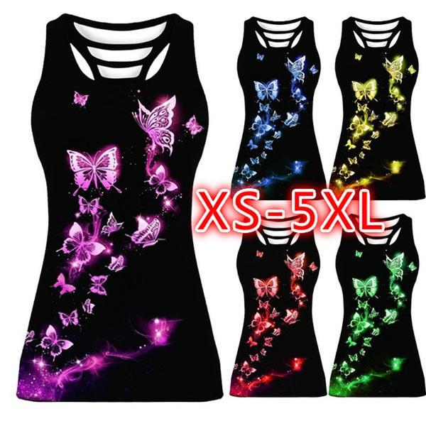butterfly, Summer, Vest, Plus Size