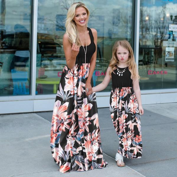 Summer, daughter, familymatchingdres, Patchwork