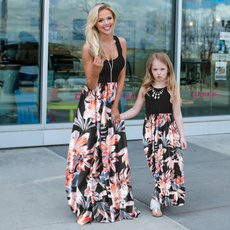 Summer, daughter, familymatchingdres, Patchwork