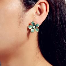 Blues, Flowers, Jewelry, Stud Earring
