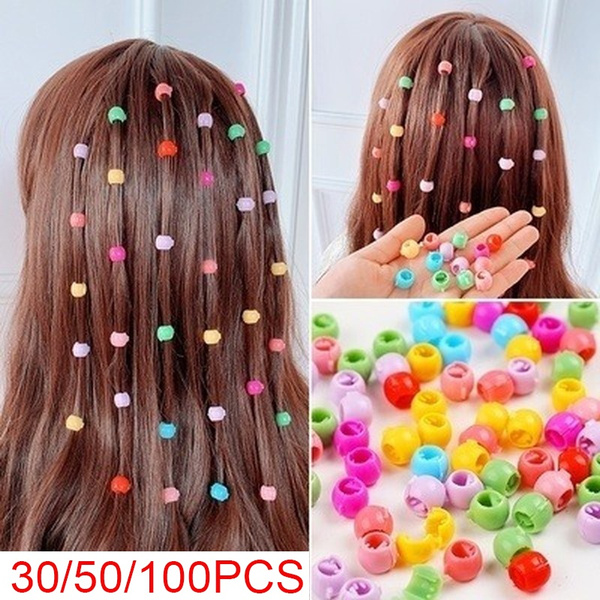 100x Mini Hair Claw Clips For Women Girls Cute Candy Colors Beads Headwear WF