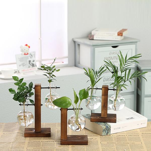 Bonsai, transparentglassvase, Decor, Flowers
