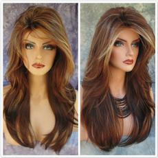 wig, brown, straightwig, curly wig
