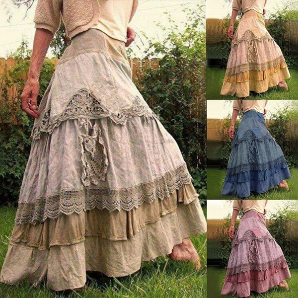 long skirt, Lace, for, stitched
