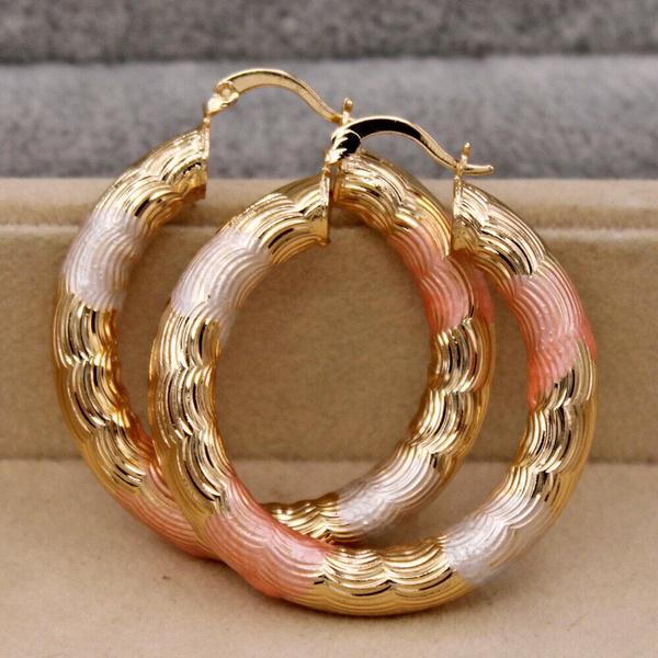 3colorplatedearring, Fashion Accessory, Jewelry, gold