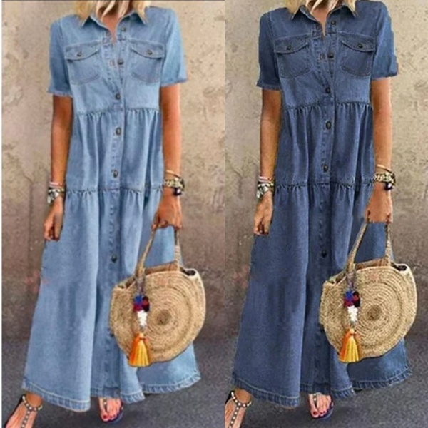 Plus Size, long dress, Denim, Tops