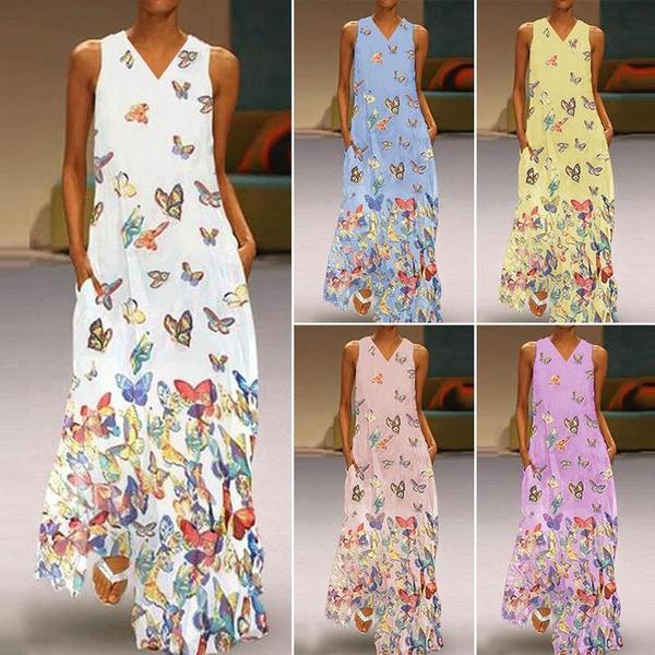 butterfly, Summer, printeddre, halter dress