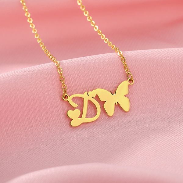 butterfly, Heart, 18kgoldnecklace, Jewelry