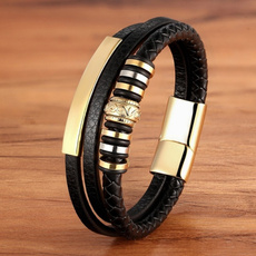 black bracelet, Steel, bikerbracelet, Men