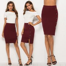 Fashion Skirts, splitskirt, winered, button