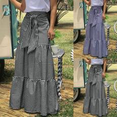 long skirt, plaid, ruffle, Waist