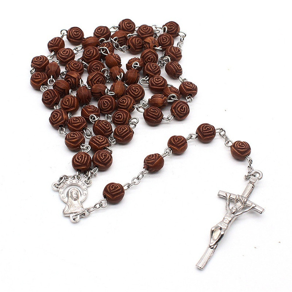 Cross Pendant, woodbeadsnecklace, religiousnecklace, woodenrosarynecklace