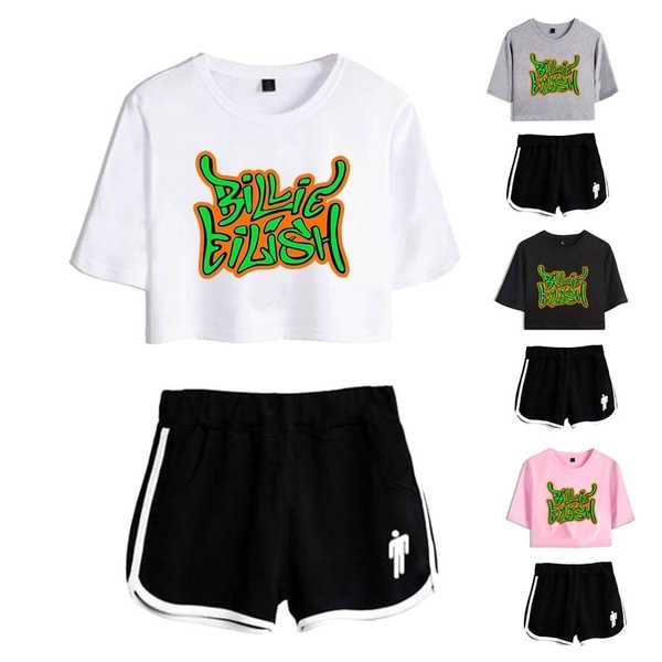 Billie Eilish Letter Pinted Women S Sexy Crop Top T Shirt Shorts 2 Pieces Set Casual Short Sleeve Tracksuit Wish