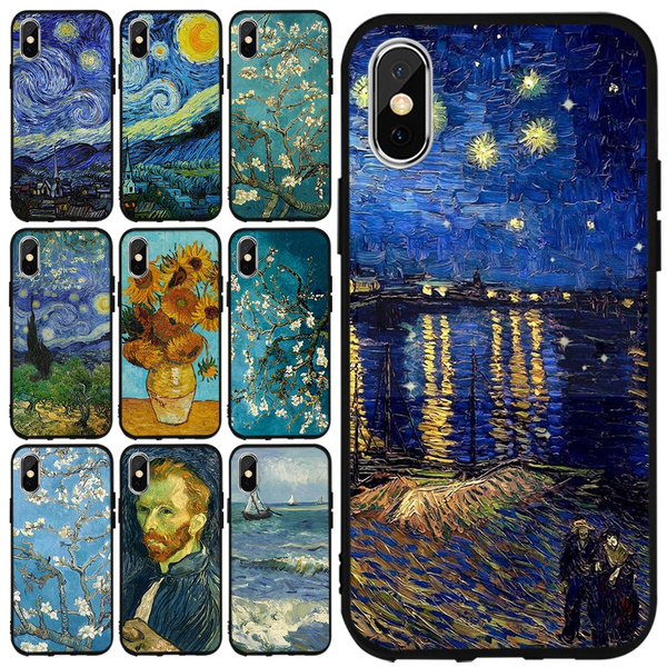 Famous Oil Painting Phone Case Van Gogh Starry Sky Soft Black Silicone Covers for IPhone 11 Pro Max 8 7 6S Plus X XS MAX XR Samsung Galaxy S6 Edge S7 ...