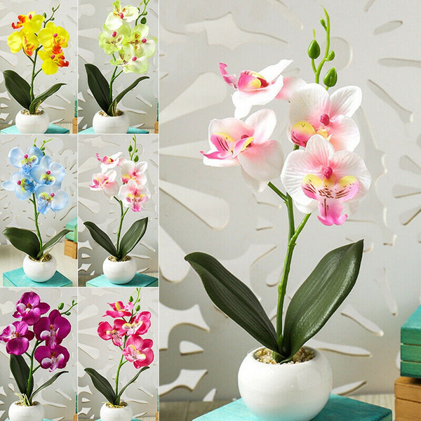 Artificial Butterfly Orchid Flower Fake Potted Plants Home Wedding-Party Decors