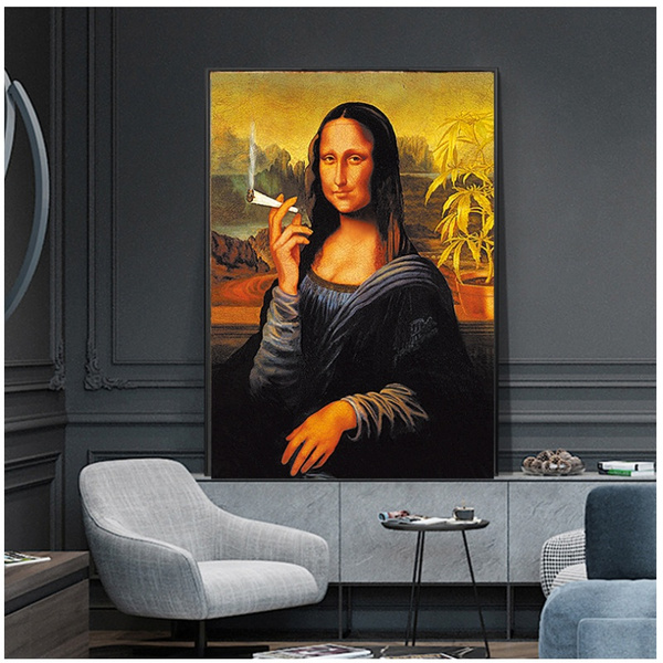 Funny Smoking Mona Lisa Oil Painting Famous Painting Canvas Decoration Wall Art Picture For Home Decor No Frame Wish