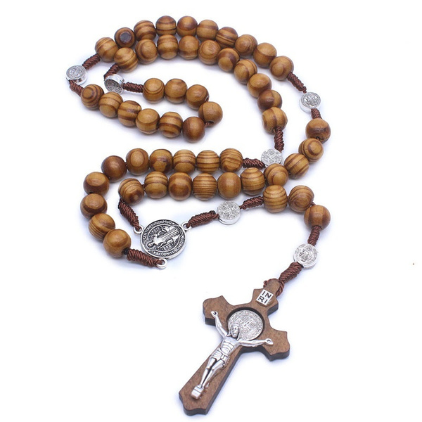Necklace, woodbeadnecklace, Christian, Cross necklace