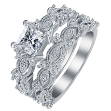 Sterling, Engagement Wedding Ring Set, wedding ring, rings for women