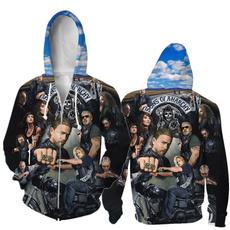 3D hoodies, Plus Size, Sleeve, Fleece Hoodie