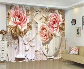 3dcurtain, Flowers, windowcurtain, Luxury
