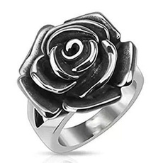 Steel, Square, wedding ring, Rose