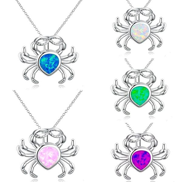 cute, cutenecklace, opals, crabpendantnecklace