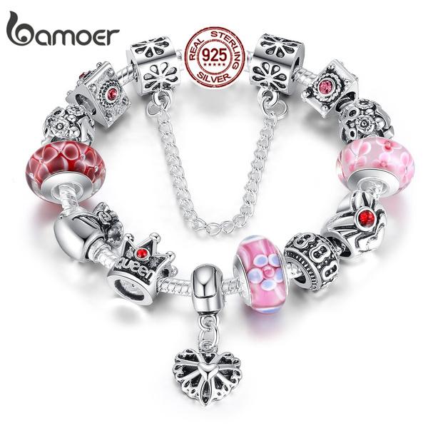 Charm Bracelet, crown, Chain bracelet, 925 silver jewelry