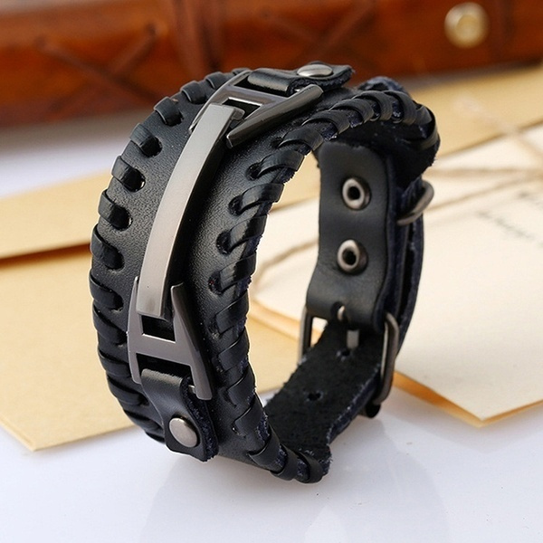 men_rings, leatherbraceletclasp, Wristbands, Jewelry