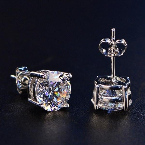 DIAMOND, Stud, Sterling Silver Earrings, white topaz