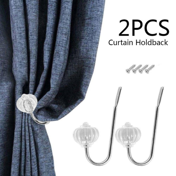 2Pcs Silver Metal Crystal Curtain Holdback Wall Tie Backs Hooks Hanger Holder