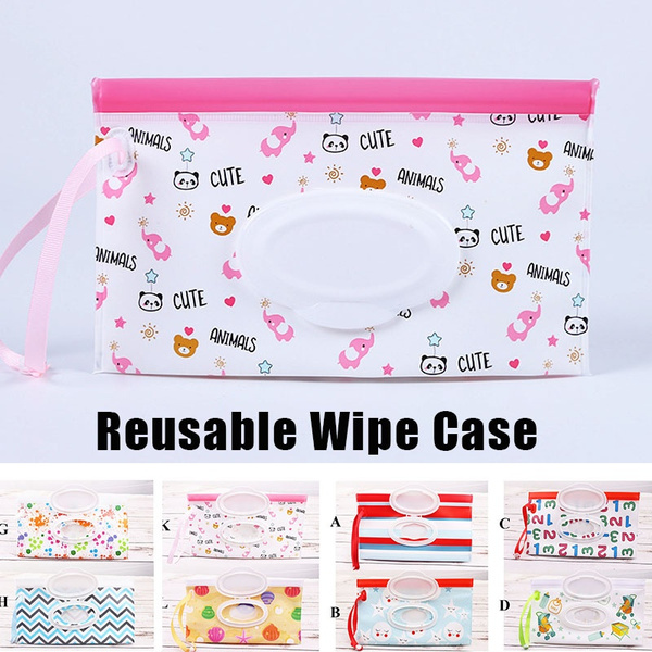 Withpal Wet Wipe Pouch Random Pattern Perfect for Travel or Picnic 3-Pack Reusable Wet Wipe Case Refillable Travel Wipe Pouch Dispenser for Baby or Personal Wipes