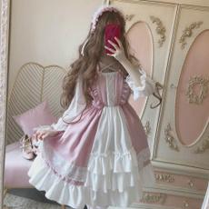 cute, GOTHIC DRESS, ruffle, long sleeve dress