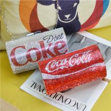 women's shoulder bags, DIAMOND, cokebottle, Party Evening Bag