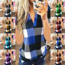 plaidsplicingshirt, #fashion #tshirt, buttondownjacket, Shirt