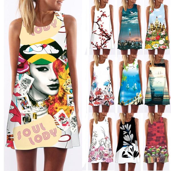 Summer, neck dress, Print Dresses, Dress