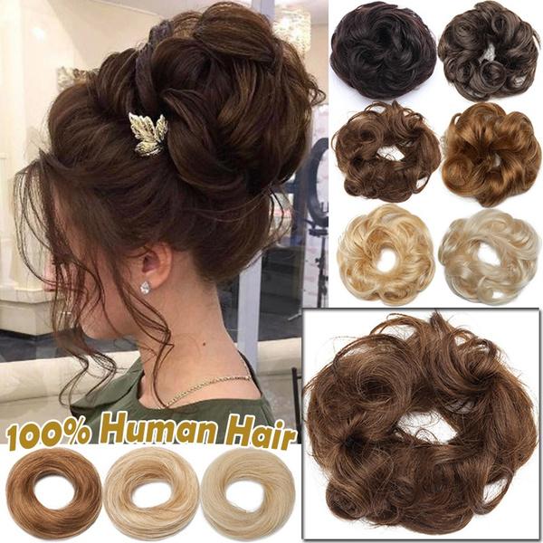 ponytailextension, donuthair, curlymessybun, scrunchie