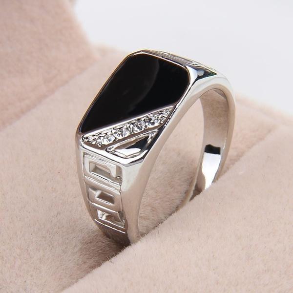crystal ring, hollowring, titanium, Vintage