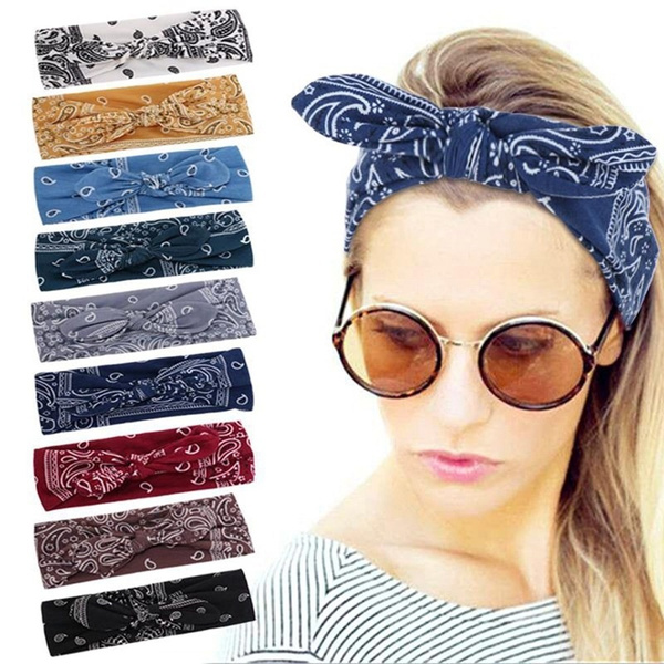 Fabric Girls Wide Headband Bowknot Hair Band Ladies Knot Hairband Striped