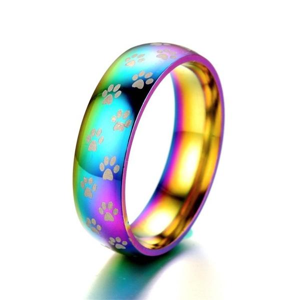 Steel, rainbow, Jewelry, loversring