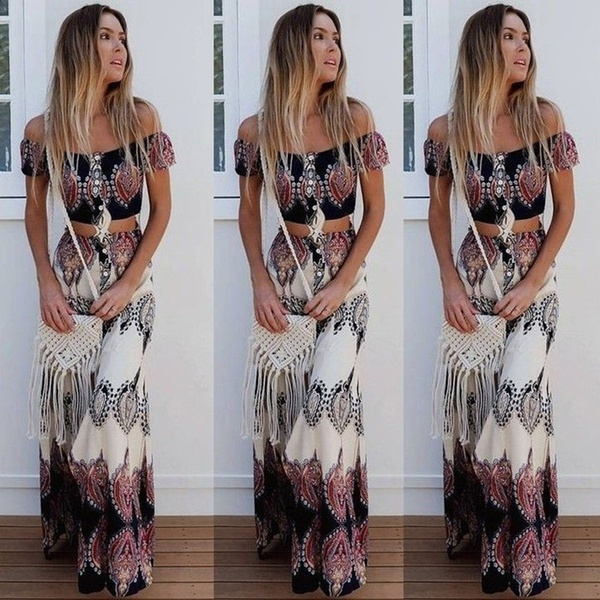 long skirt, crop top, skirtsuit, Tops
