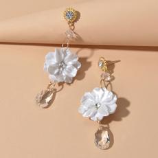 earringaccessory, Flowers, whiteflowerearring, transparentstoneearring
