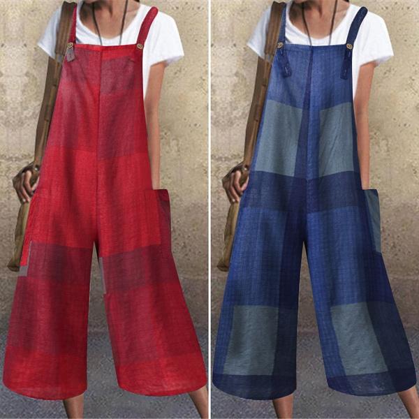 suspenders, longtrouser, Plus Size, sleevelessjumpsuit