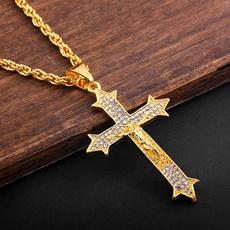 goldplated, jesuschrist, Men  Necklace, Cross necklace